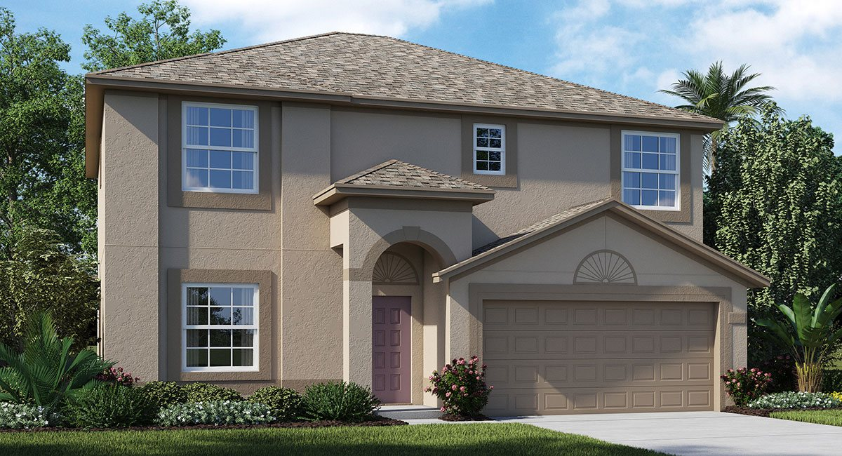 """You are currently viewing beautiful two story 2440 sq ft """"Monaco"""" home that has four bedrooms and 2.5 baths with a game room upstairs and a two car garage"""