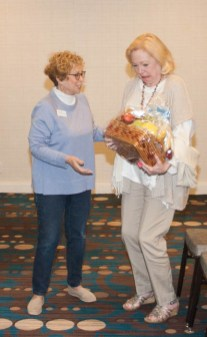 TBGBC President Sara Cohen presented the other Grand Prize fruit basket to winner Catherine Wright Haddock.