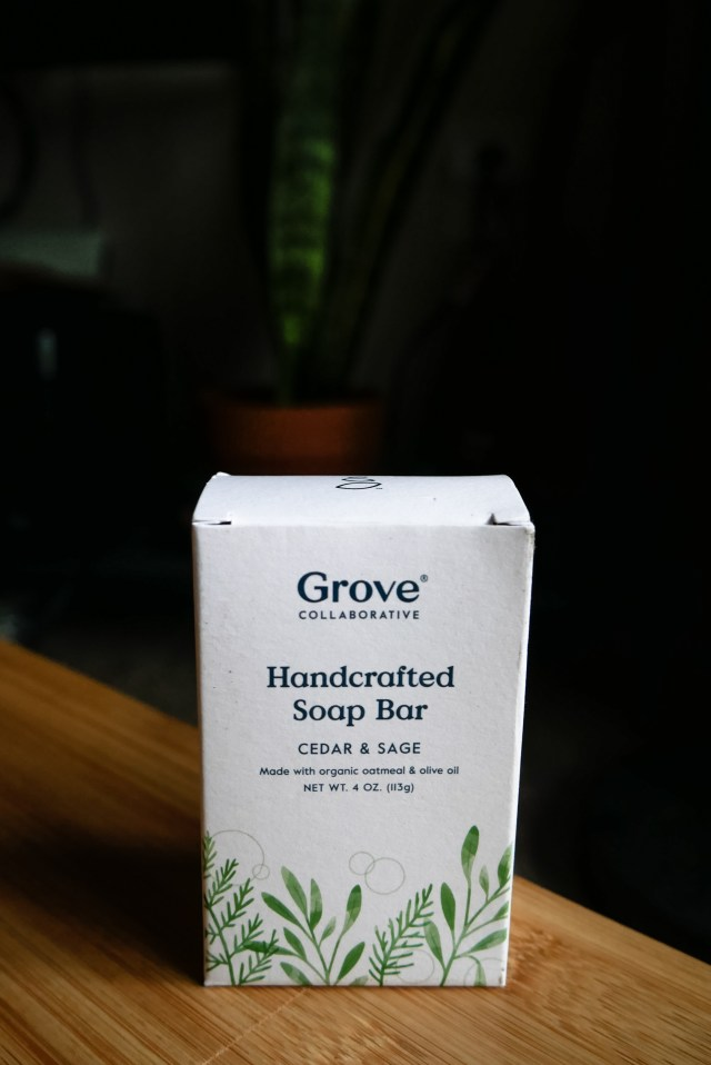 The best handcrafted soap bar by Grove Collaborative in the scent Cedar & Sage.