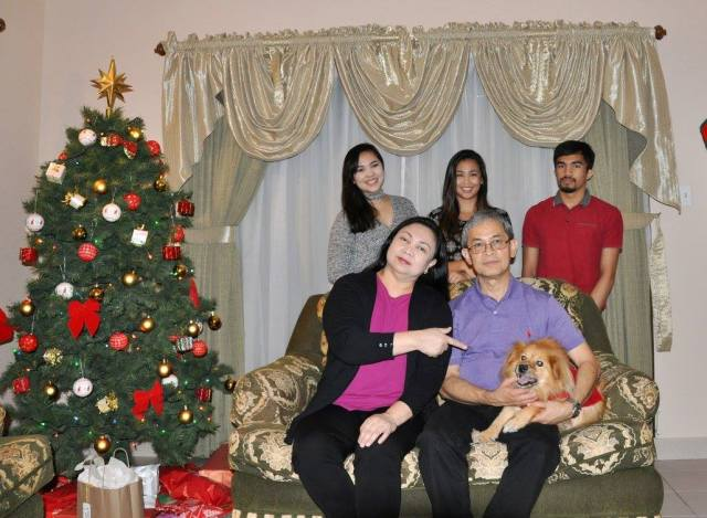 An old photo of the Tejada family during Christmas in Saudi Arabia.
