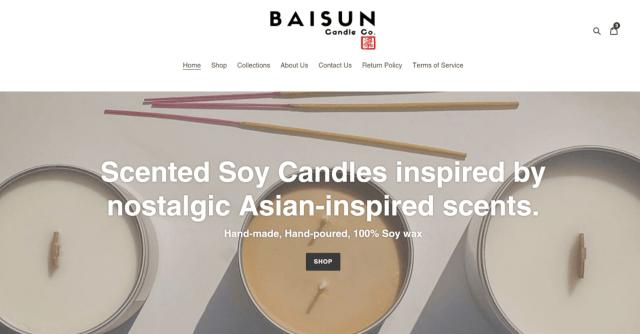 Snapshot of Baisun Candle Co.'s website