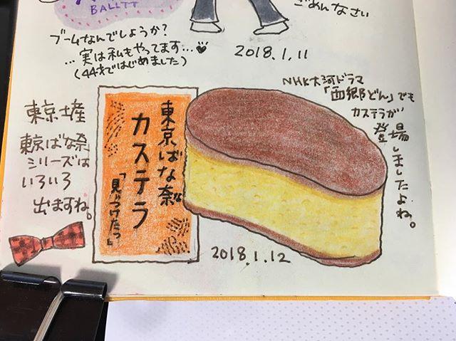 今日のおやつ。東京ばな奈シリーズ、好きです#絵日記 #手帳 #MOLESKINE
