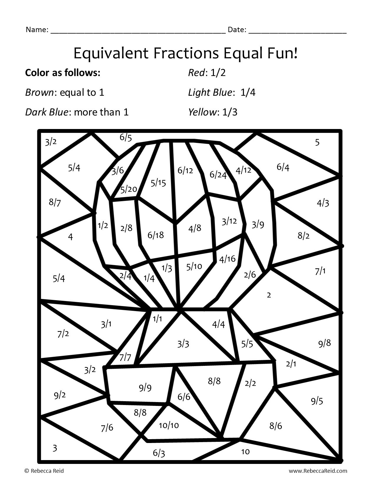 Comparing Fractions Coloring Worksheets