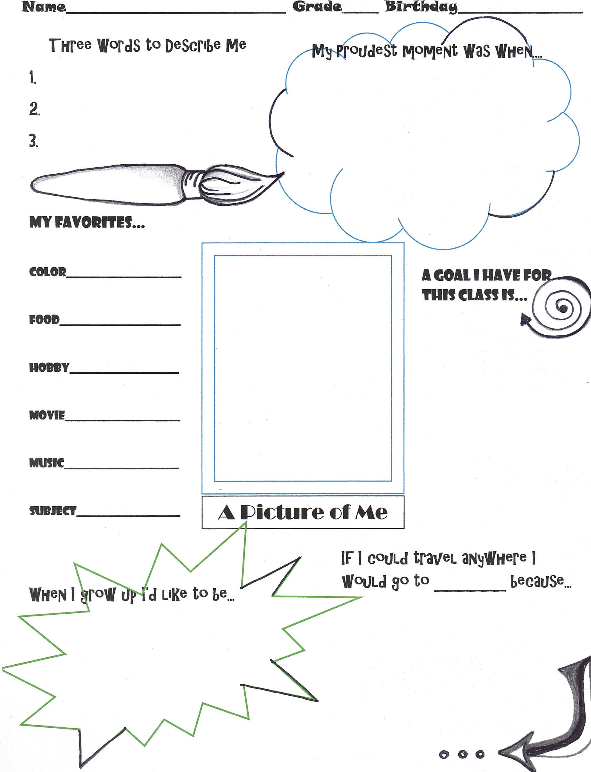 Get To Know You Worksheet Middle School