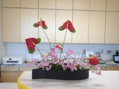 アンスリューム 宿根スイトピー レッドウィロー パセリ 受付の花