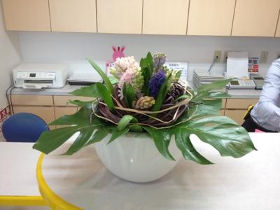 ヒヤシンス モンステラ 受付の花