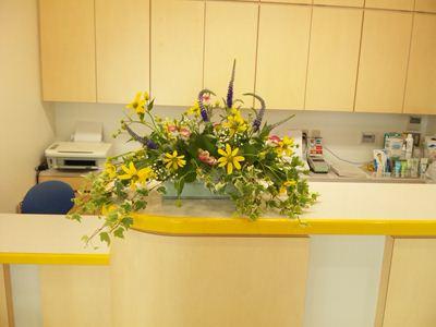 ルドベキア トルコ桔梗 ベロニカ かすみ草 アイビー 受付の花