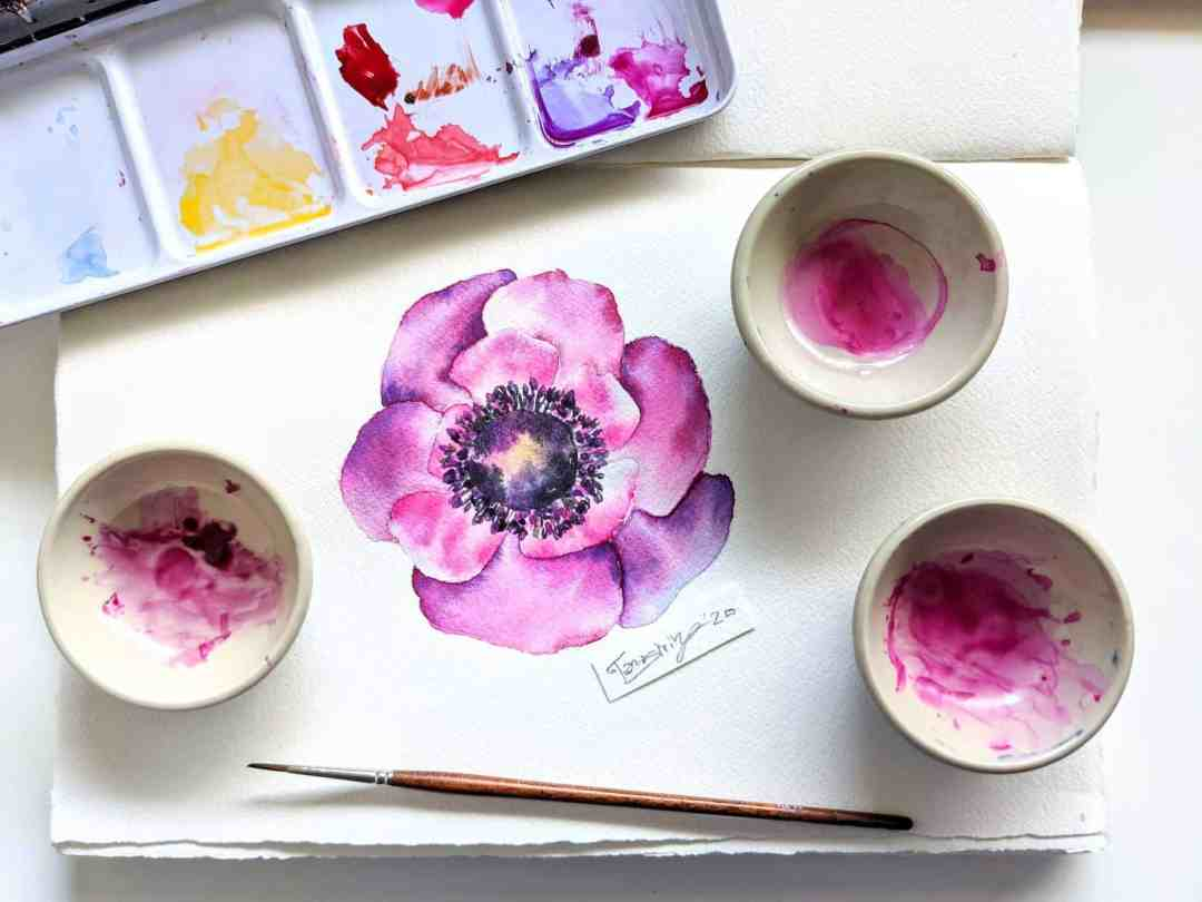 Flower Watercolor Painting Tutorial – Anemone