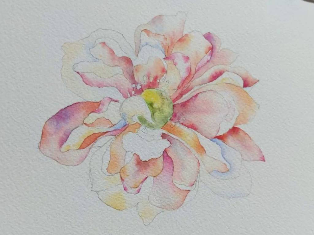 Flower Watercolor Painting Tutorial – Orange Anemone
