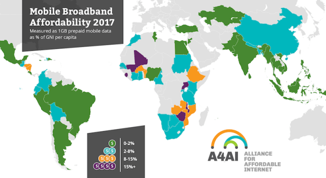 Global internet access is plunging fast due to high cost of data, billions remain offline