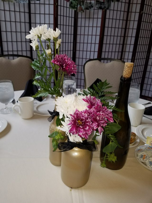 DYI Centerpieces for my Grandma's party that I made while home for the summer