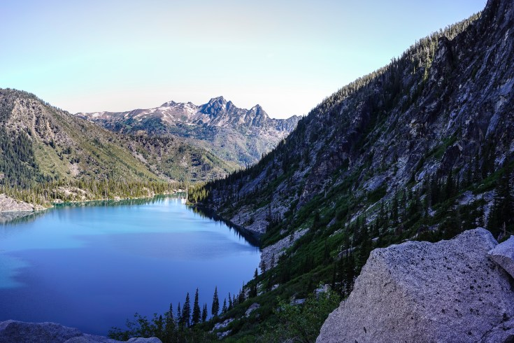 Looking back down on Colchuck Lake.