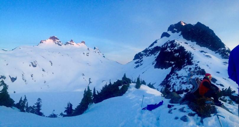 Sunrise hitting the peaks, Gothic on the left and Del Campo on the right.