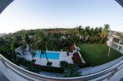 A panoramic view of our complex from the back porch