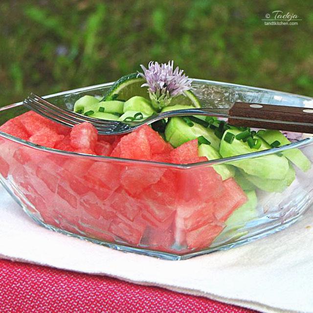 salata od lubenica krastavaca i crvenog luka