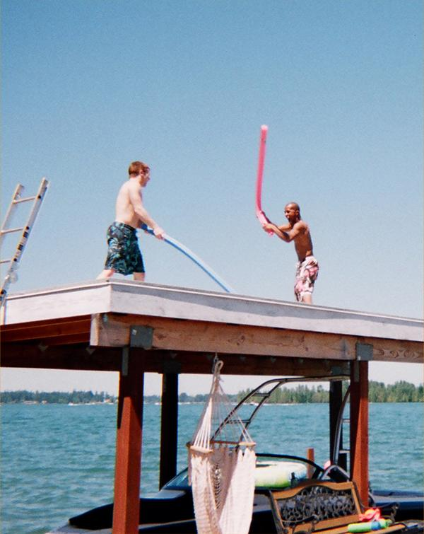 'DJ' and Drew Brokenshire, in the midst of high-impact lightsaber training.  Note the raised platform for high-altitude conditioning.