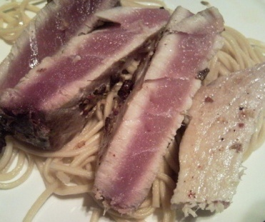 Seared Tuna Served On A Bed Of Noodles