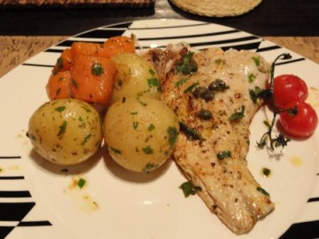 Kabeljou with Caper Lemon Butter Sauce