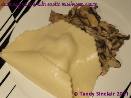 """Duck Egg Ravioli With Exotic Mushroom Sauce"""