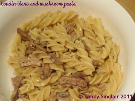 Boudin Blanc And Mushroom Pasta
