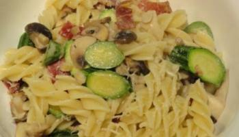 Coppa And Courgette Pasta With Exotic Mushrooms