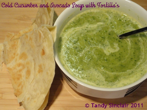 Cold Cucumber and Avocado Soup With Flour Tortillas