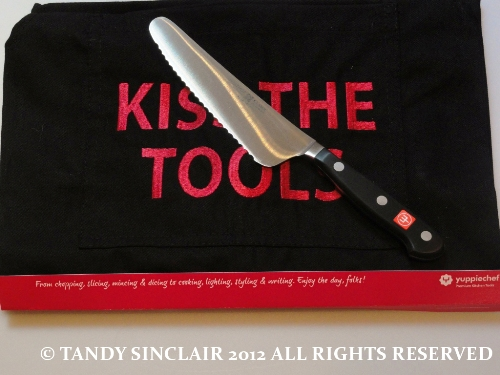 my brand new knife and apron - thank you Yuppiechef July 2012