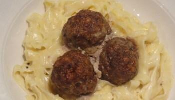 Parmesan Meatballs With Saffron Pasta And Alfredo Sauce