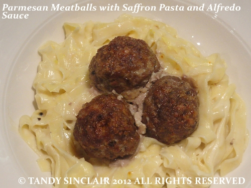 Parmesan Meatballs With Saffron Pasta And Alfredo Sauce