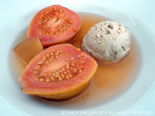 Poached Guavas With Guava Ice Cream