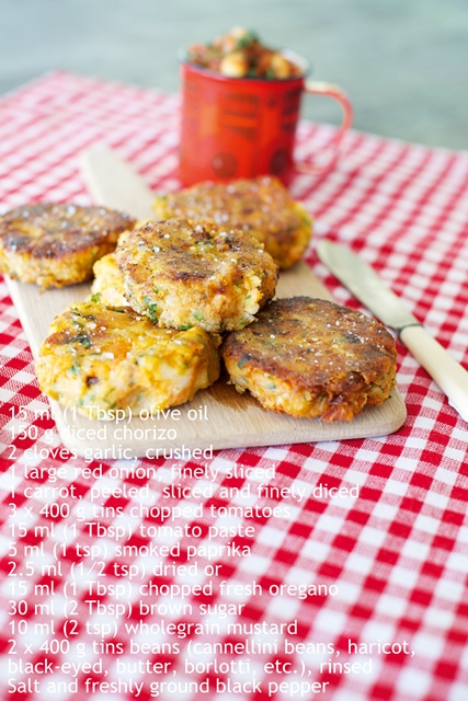 """Sweet potato and leek cakes with homemade baked beans"""