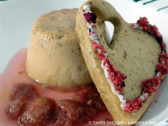 Fuschia Mousse, Raspberry Syrup, Gluten-Free Lavender Shortbread