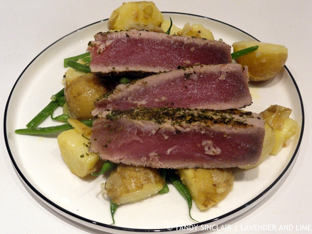 Seared Tuna On A Bed Of Steamed Potatoes, Blanched Green Beans And Fennel Pickle