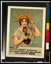 lady libert and telephone WWI