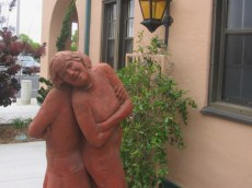 Two life-size sisters greet visitors who wander about Point Loma's art-filled Liberty Station.