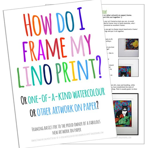 """Cover and info sheet for leaflet """"How do I Frame my Lino Print?"""" with hand-written looking font in bright colours"""