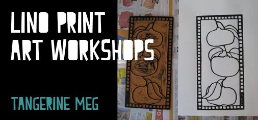 Lino print lessons header - twitter sized - chunky font - image is an inked lino block and a fresh print on paper.