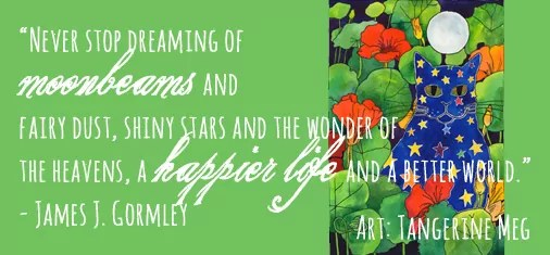 Header for Moonbeams, cat picture and James J Gormley quote