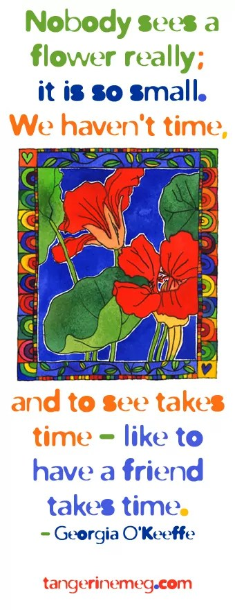 watercolour painting of nasturtiums with Georgia O'Keeffe quote