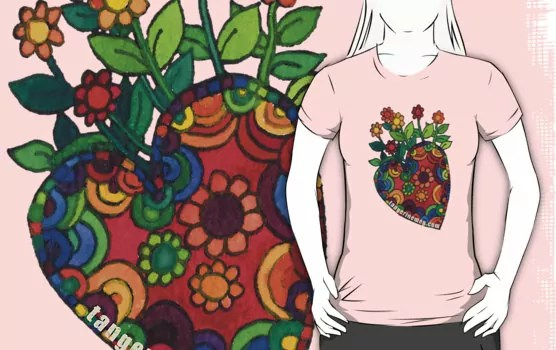 blooming heart design on a pink tshirt
