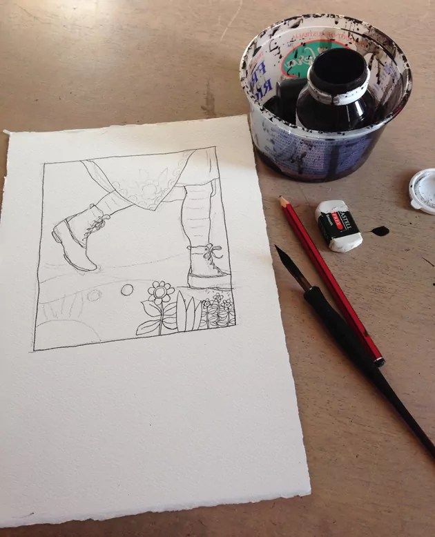 Shoes-of-Sincerity_inking-progress-plus-tools_630