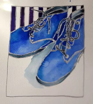 blue boots watercolour with a striped background
