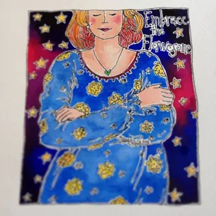 woman with her eyes closed, contemplating her inner life, whilst wearing a blue dress with yellow flowers