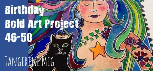 Tangerine Meg watercolour of mermaid and her cat - lots of blues and greens - header for final post about Birthday Bold Art Project