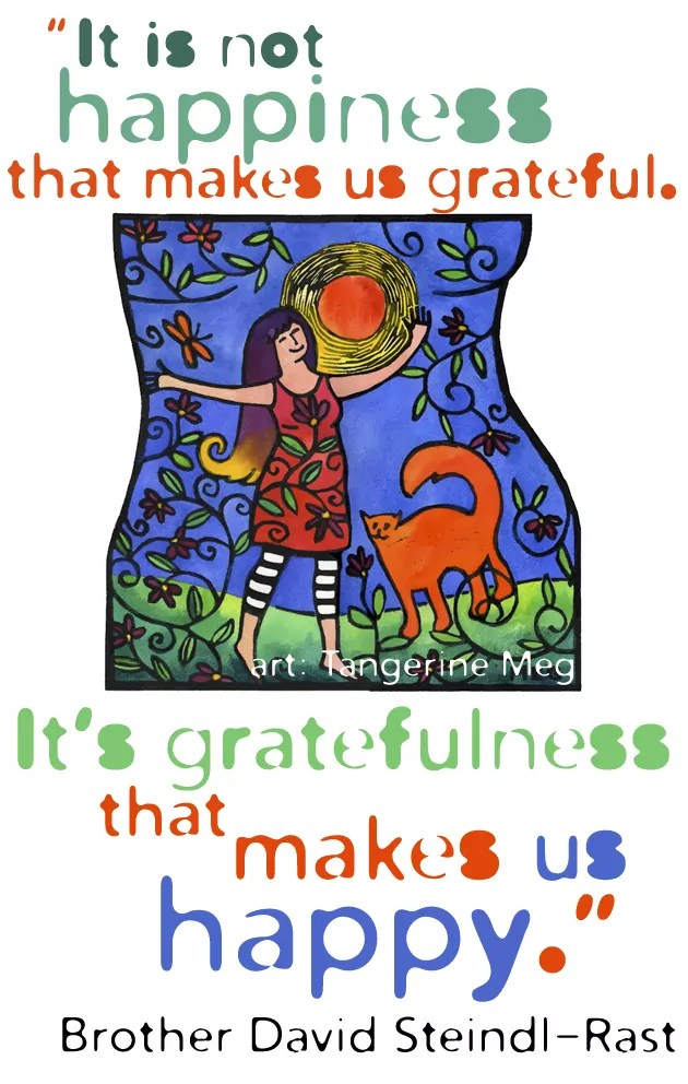 Hand coloured lino print of happy woman with her cat - orange blue and green color scheme - paired with gratitude quote