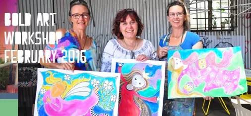 three bold art workshop students display their colourful beautiful creations over laid with header text
