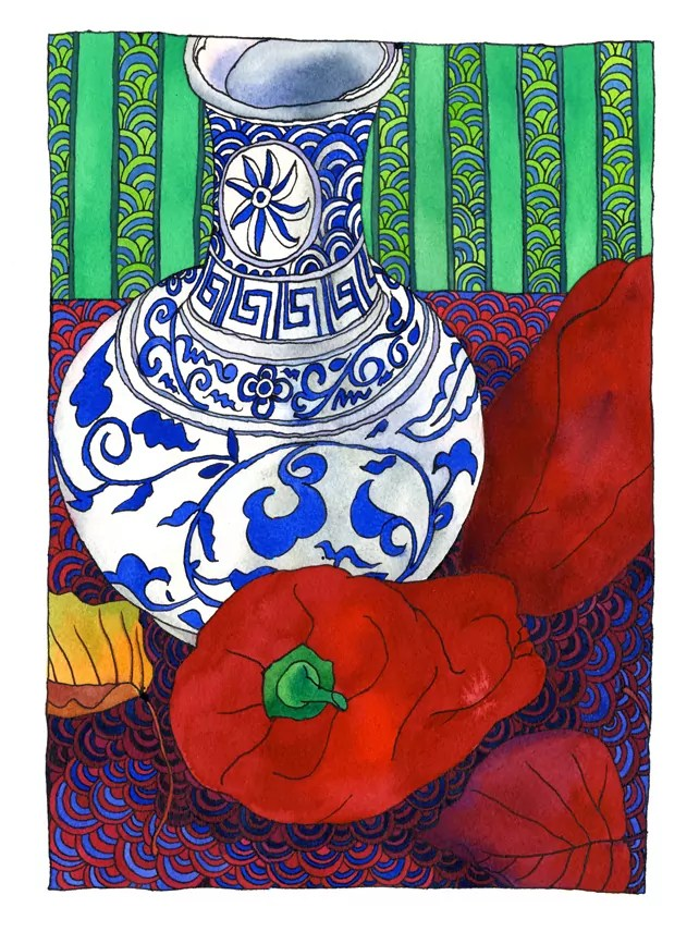 Watecolour still life by Tangerine Meg, featuring blue and white vase, red capsicums, an autumn leaf and a riot of colourful backgroun pattern
