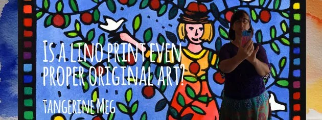 """Header image for """"Is a Lino Print even Proper Original Art?"""" featuring """"Thriving"""" lino print image with a silhouette of Tangerine Meg taking a self portrait in a mirror"""
