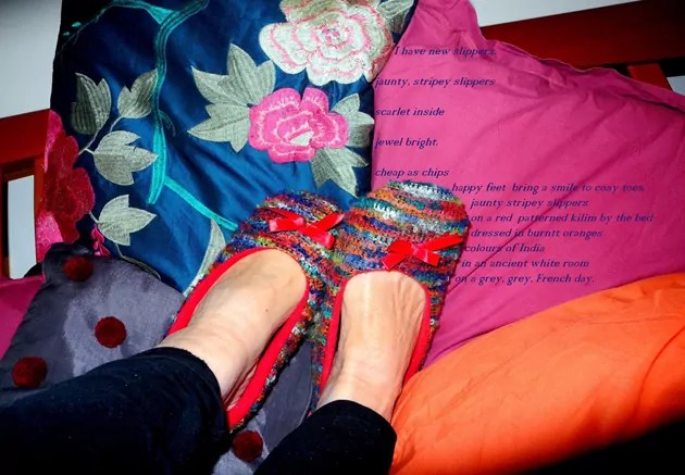 bright slippers on bright fabrics with poem overlaid