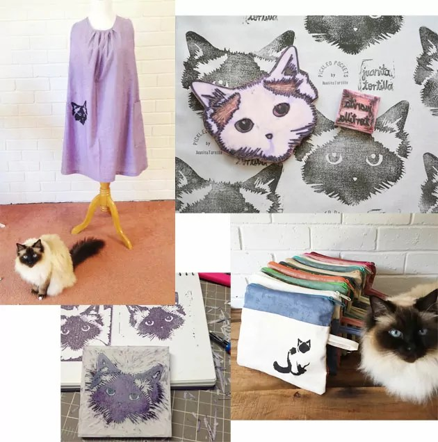 Pickle the cat, and items printed with her likeness by Juanita Tortilla